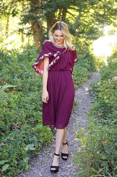 Jolie Burgundy Swiss Dotted Embroidered Dress - FINAL SALE