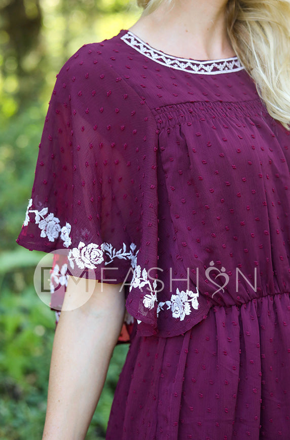 Jolie Burgundy Swiss Dotted Embroidered Dress - FINAL FEW