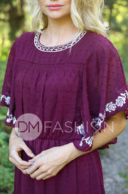 Jolie Burgundy Swiss Dotted Embroidered Dress
