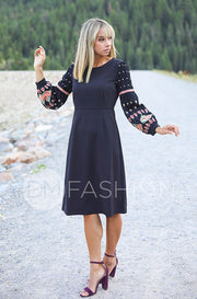 Mariah Black Embroidered Midi Dress - DM Exclusive