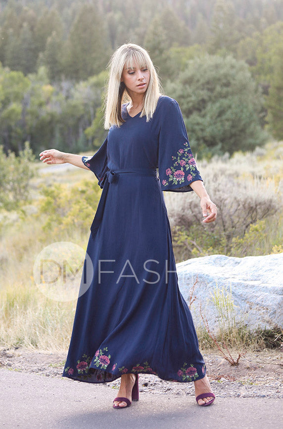 Rachel Rose Navy Embroidered Maxi - DM Exclusive
