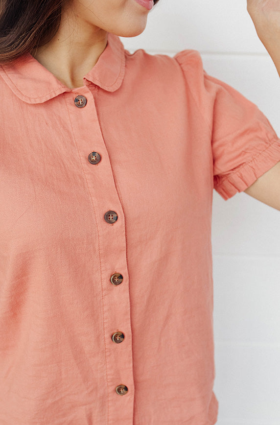 Bright Outlook Pink Salmon Button Up Top