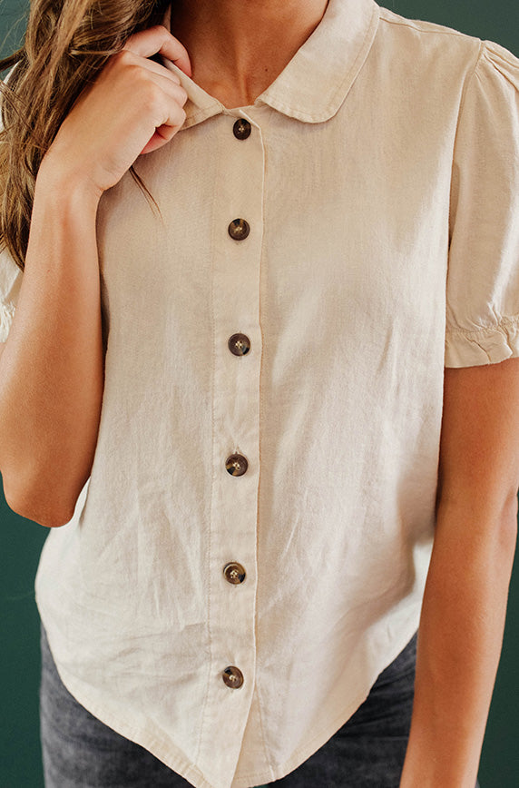 Bright Outlook Natural Button Up Top