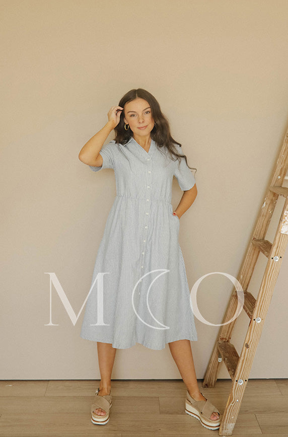 Cosette Denim Pinstripe Dress - MCO - Nursing Friendly