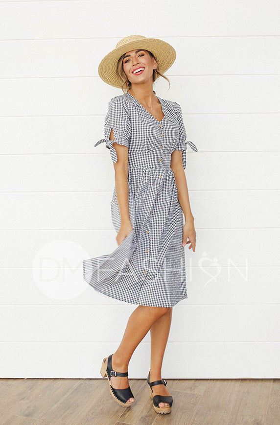 Janice Black Gingham Dress - DM Exclusive