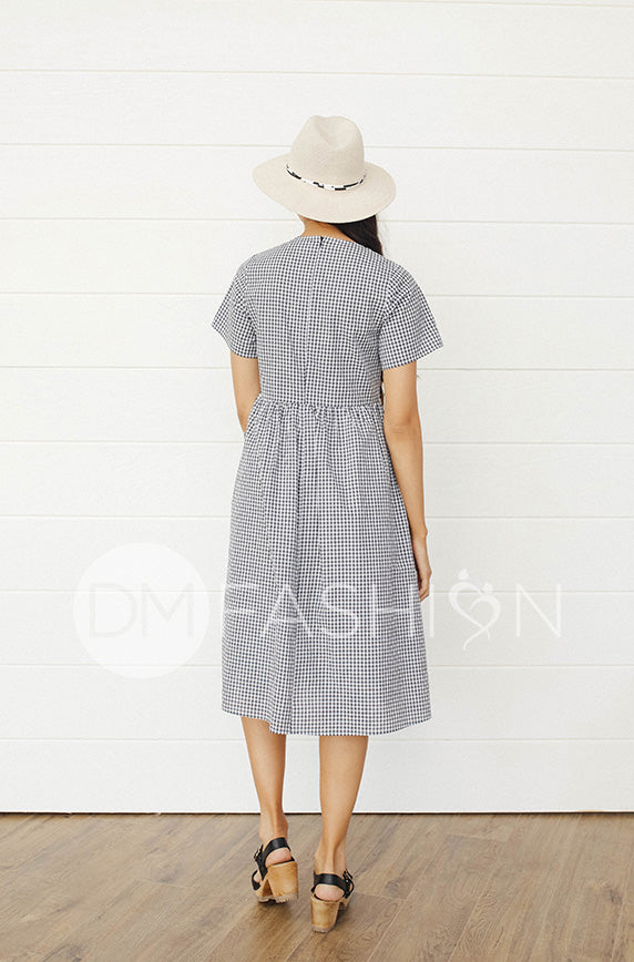 Emma Black Gingham Dress - DM Exclusive