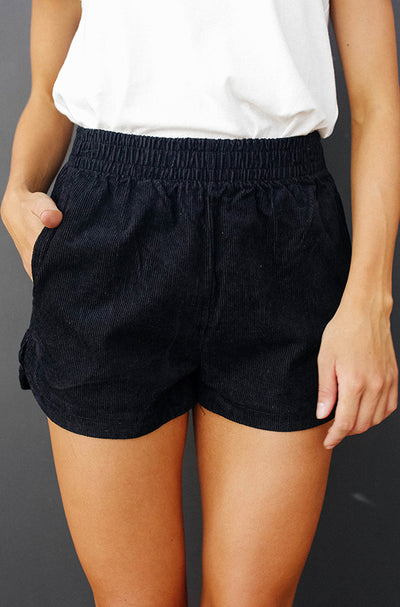 Easy Breezy Black Corduroy Shorts