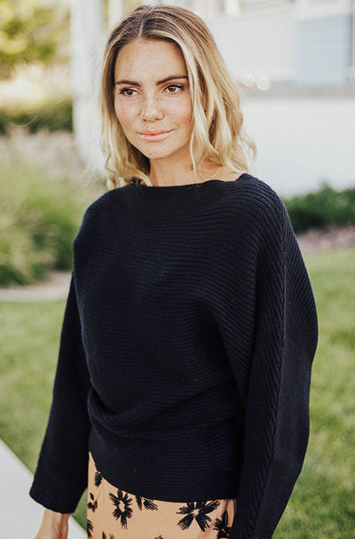 Home With You Black Ribbed Sweater