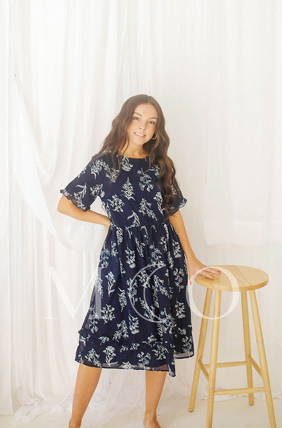 Lindsay Navy Floral Dress - MCO