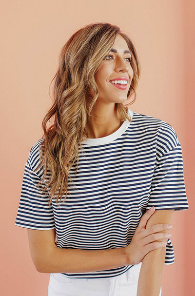 Kirby Navy Stripe Top
