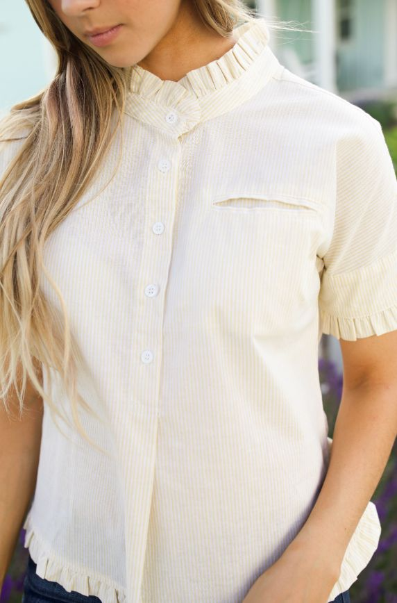 Yellow Daisy Ruffle Trim Striped Button Up - FINAL SALE