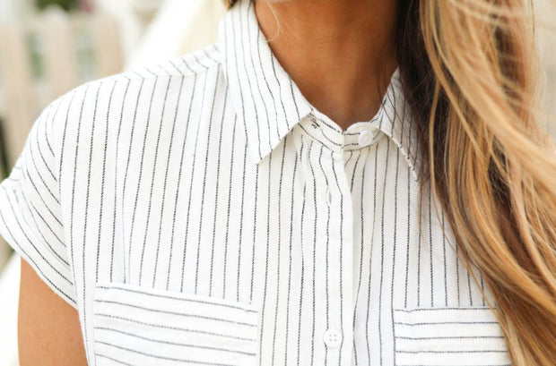 Ethel Navy Pinstripe Flannel Top - FINAL SALE