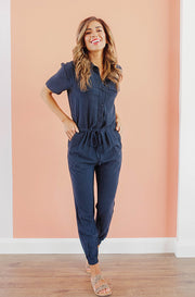 Reese Navy Jumpsuit - Nursing Friendly - FINAL SALE