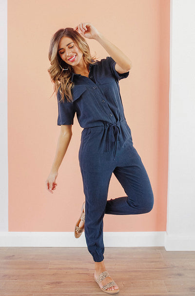 Reese Navy Jumpsuit - Nursing Friendly - FINAL FEW