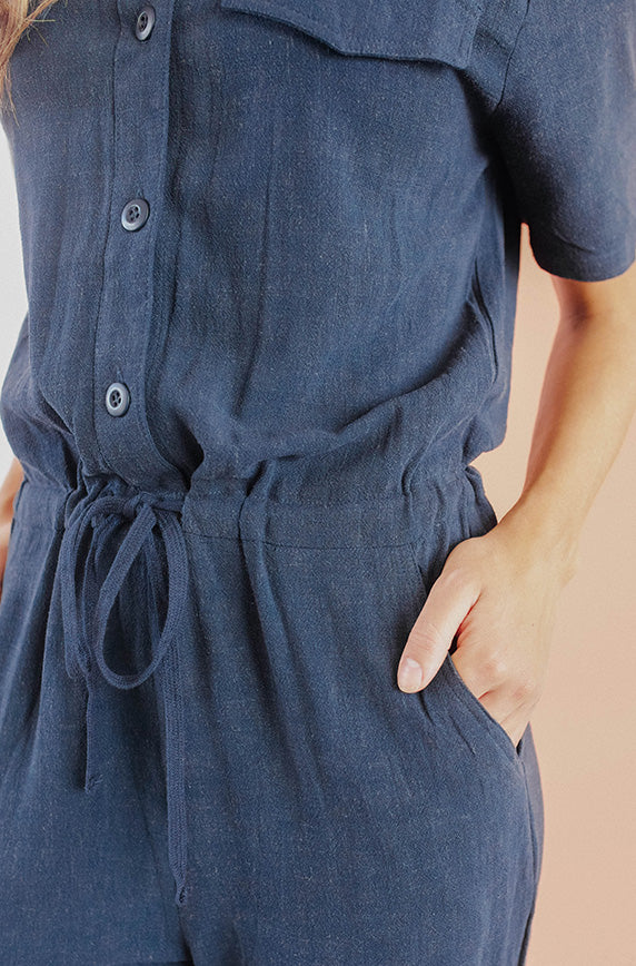 Reese Navy Jumpsuit - Nursing Friendly