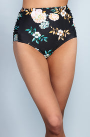 Ruched High Waisted - Black Retro Floral - DM Fashion