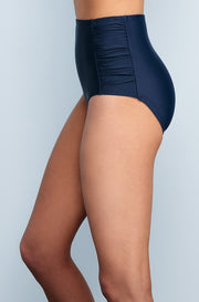 Ruched High Waisted - Navy - DM Fashion