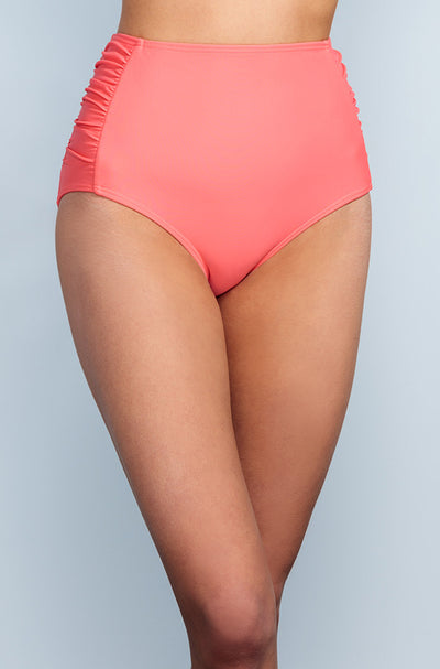Ruched High Waisted - Sunrise Coral - DM Fashion