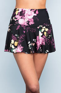 Ruffle Skirt - Black Floral - DM Fashion