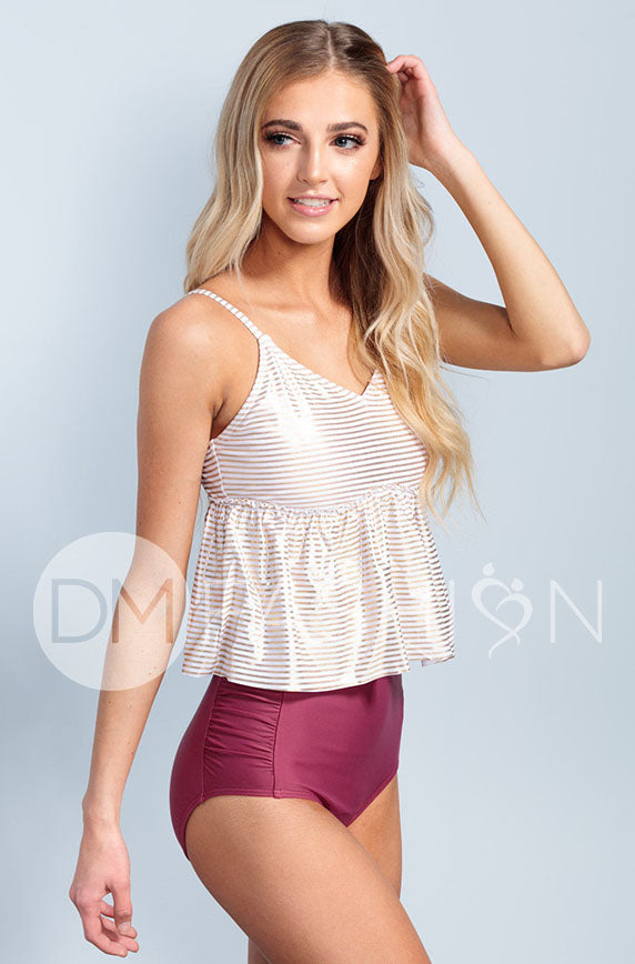 V Peplum Tankini - Gold Stripes - DM Fashion