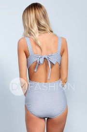 Scoop Neck Back Tie One Piece - Ash Blue Stripes - DM Fashion
