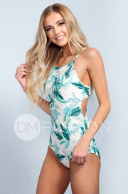 High Neck Square Back One Piece - Hawaii Palm