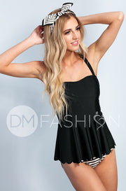 Scalloped Peplum Tankini - Black RESTOCKED - DM Fashion