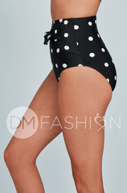 Front Tie High Waist Bottom - Black Polka Dot