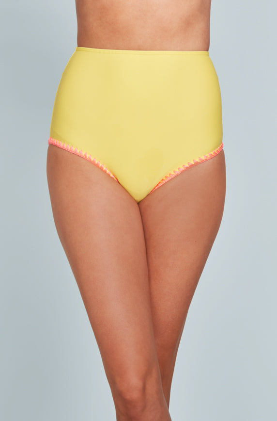 High Waisted Bottom - Buttercup Yellow Embroidery