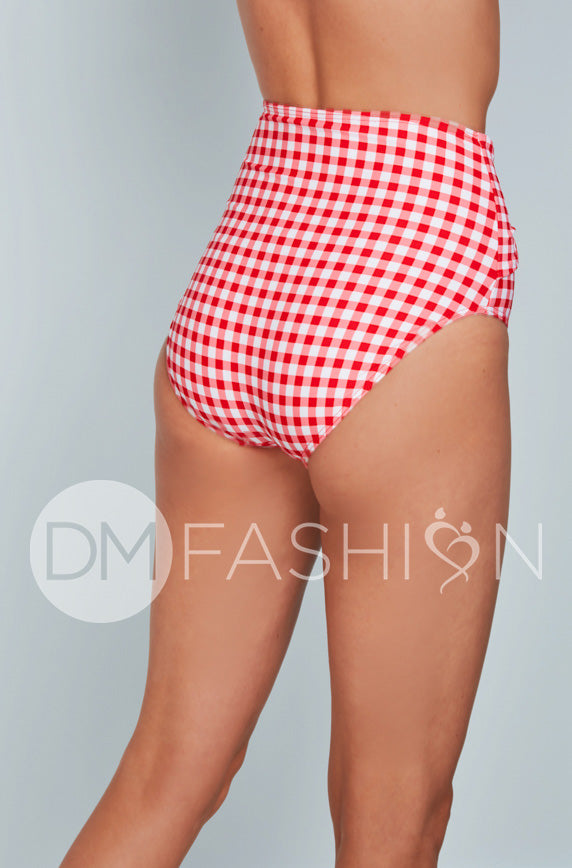 Front Tie High Waist Bottom - Cherry Red Gingham