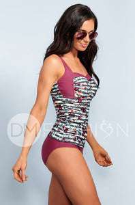 Sweetheart Ruched Tankini - Jasper Green Stripe Floral - DM Fashion