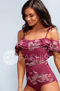 Off The Shoulder Ruched Double Ruffle Tankini - Red Plum Embroidery Floral