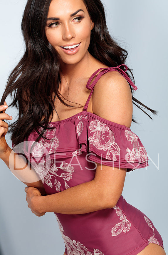 Off The Shoulder Double Ruffle Tankini Top - Red Plum Embroidery Floral