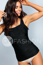 Ruched Square Tankini Top - Black