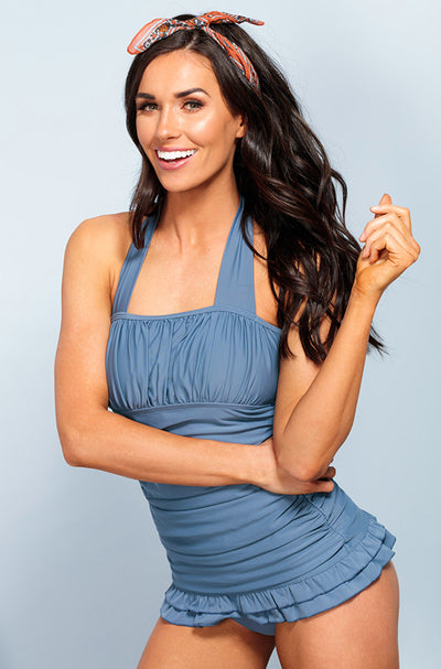 Open Back Ruched Halter Top - Ash Blue - FINAL SALE