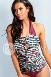 Shirred Halter - Jasper Green Stripe Floral - DM Fashion