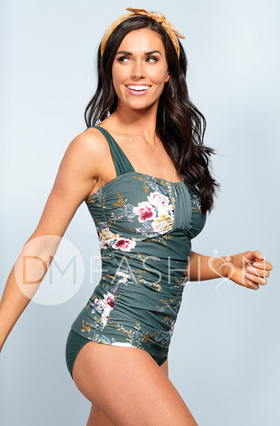Ruched Bandeau Tankini Top - Jasper Green Orchard