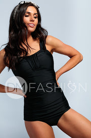 Ruched Bandeau Tankini Top - Black