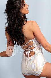 Lace Up One Piece - Gold Stripes - DM Fashion