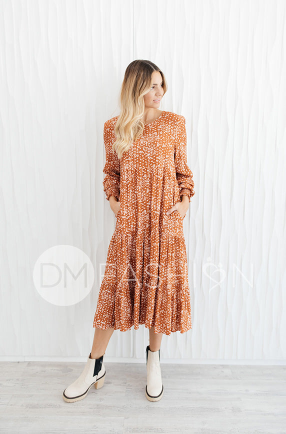 Hanna Rust Floral Dress - DM Exclusive