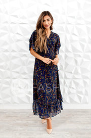 Halie Navy Floral Wrap Dress - DM Exclusive
