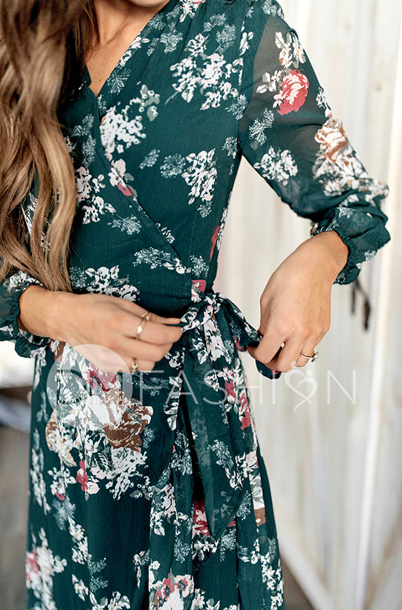 Melanee Pine Floral Wrap Dress - DM Exclusive