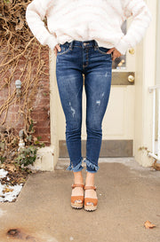Kellie Dark Wash Vintage Fray Skinny Jeans - FINAL FEW