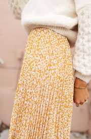 Marigold Born To Be Wild Pleated Leopard Maxi Skirt - FINAL FEW