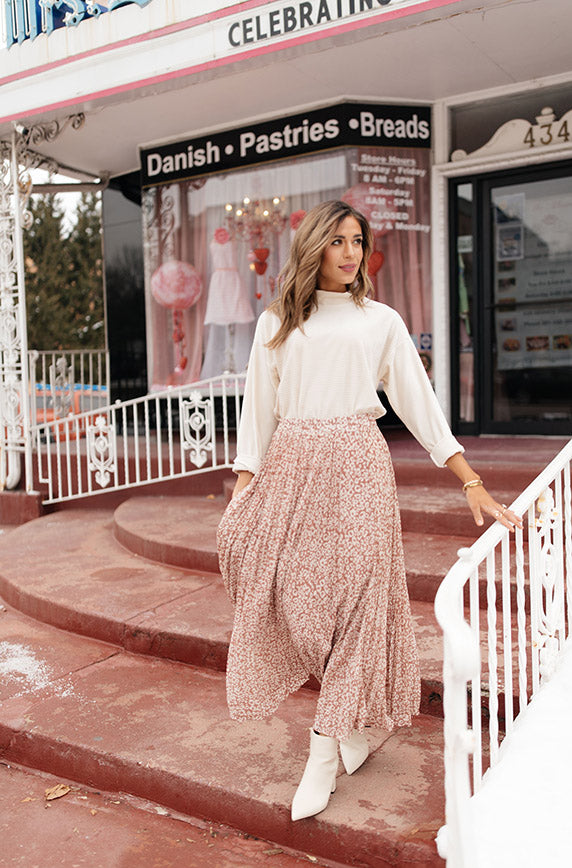 Dusty Rose Born To Be Wild Pleated Leopard Maxi Skirt