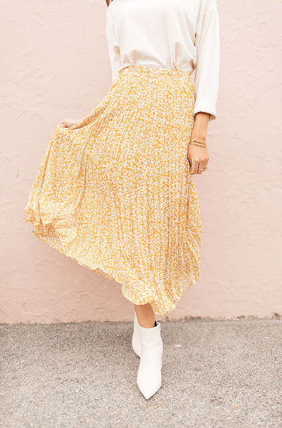 Marigold Born To Be Wild Pleated Leopard Maxi Skirt - Restocked