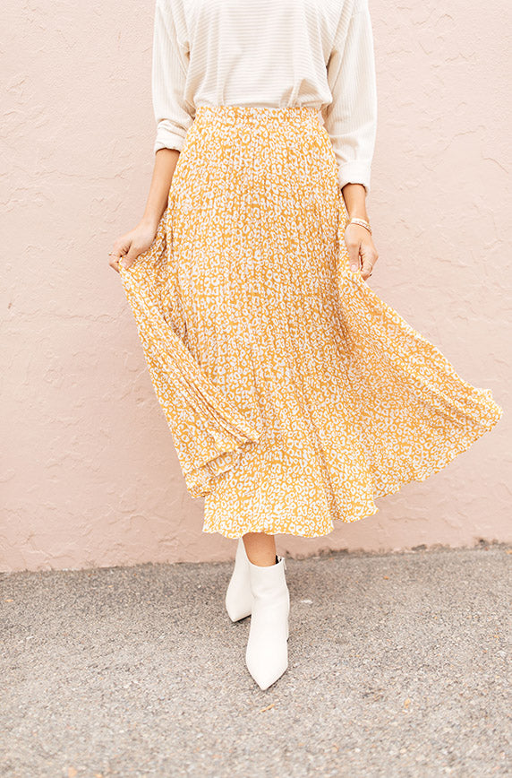 Marigold Born To Be Wild Pleated Leopard Maxi Skirt
