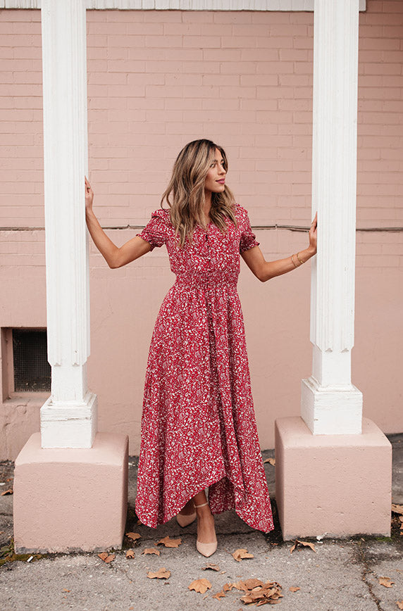 Verona Red Floral Button Down Maxi - DM Exclusive