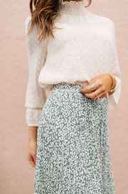 Sage Born To Be Wild Pleated Leopard Maxi Skirt
