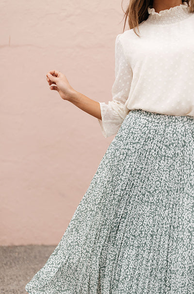 Sage Born To Be Wild Pleated Leopard Maxi Skirt - Restocked